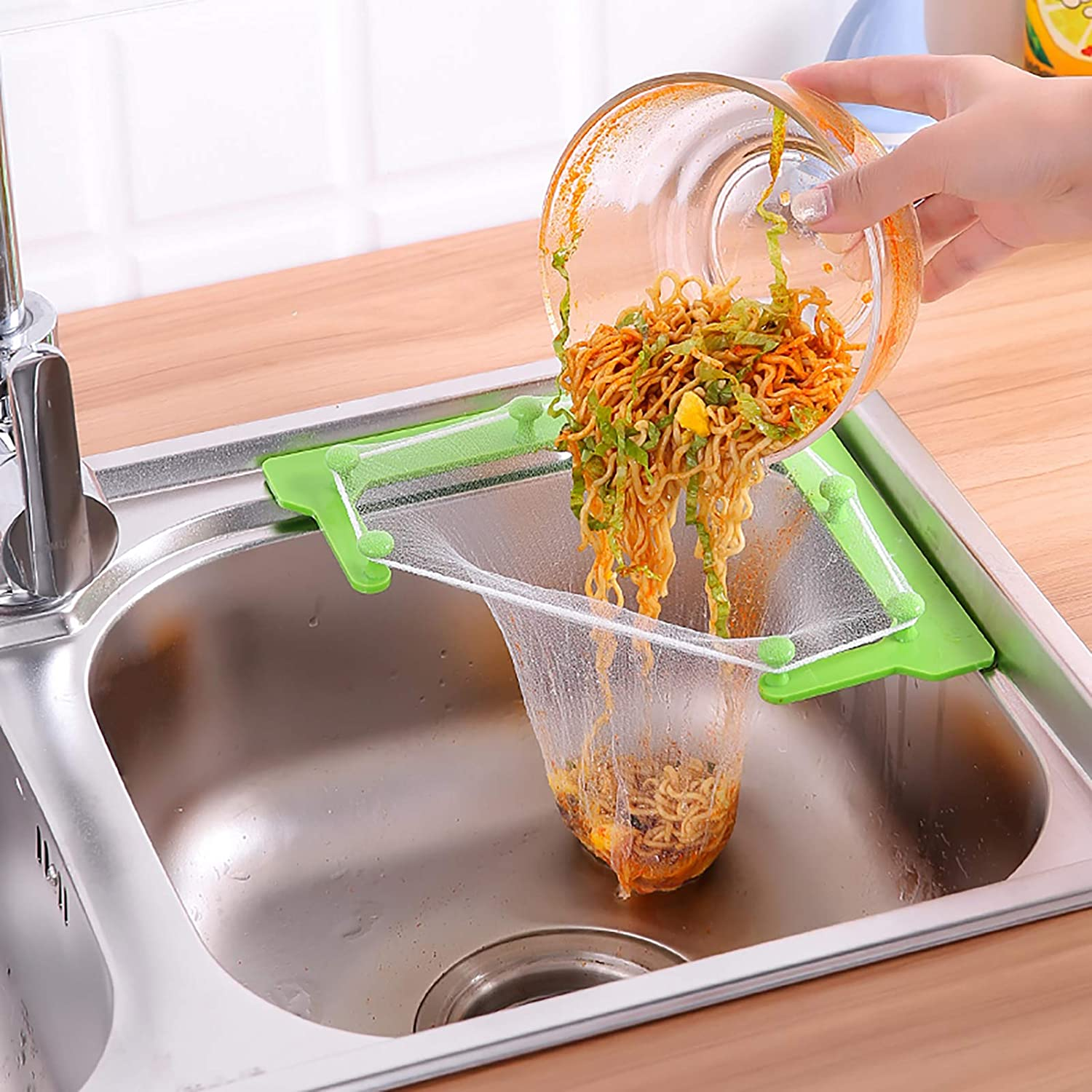 Sink Strainer Bag,Triangle Sink Strainer Bags,Disposable Sink Filter Fine Mesh Bags Kitchen Sink Storage Holder Sink Garbage Bags for Kitchen Leftovers Food Residue Filter