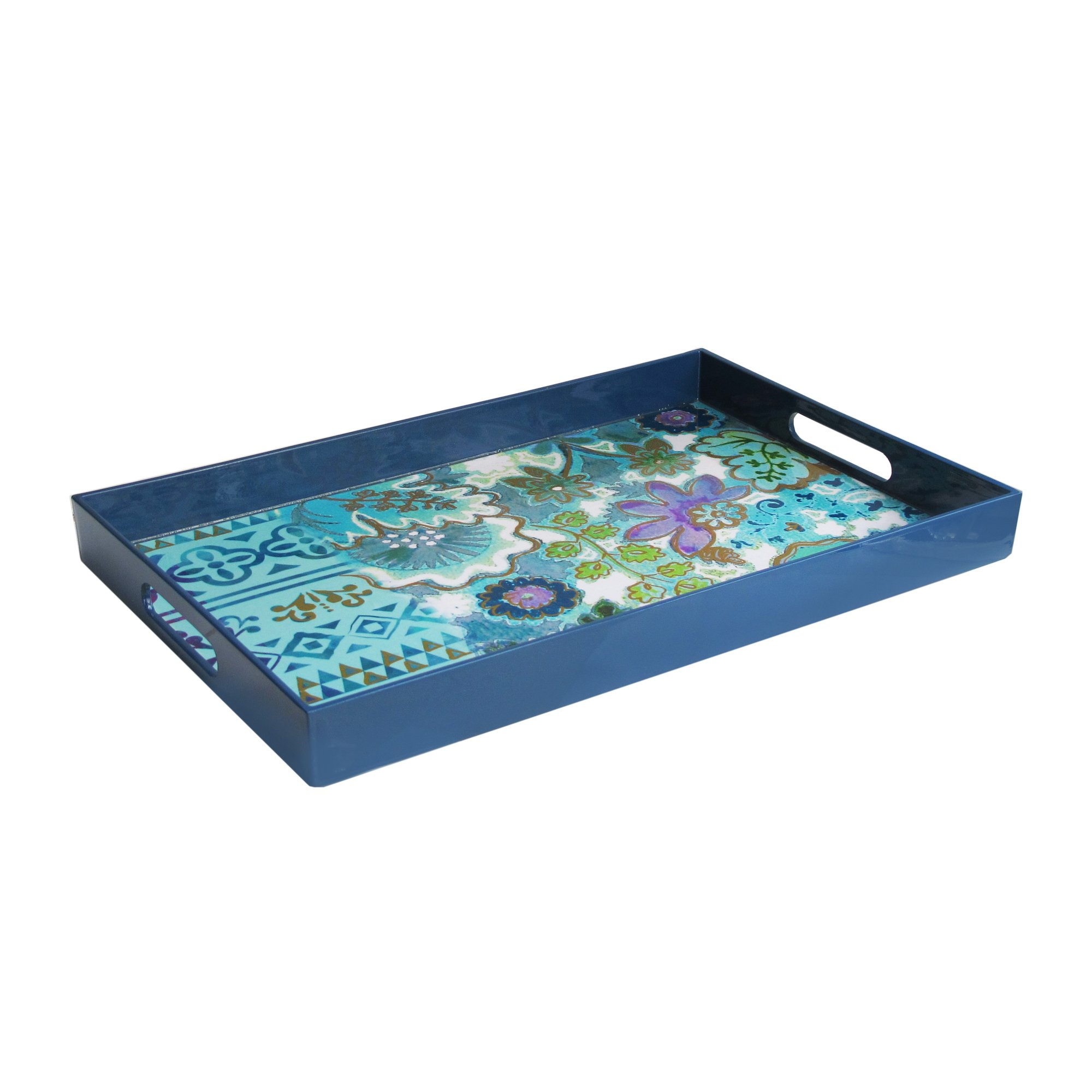 Tracy Porter 1270399 Rectangle Tray with Handles, Navy/Blue