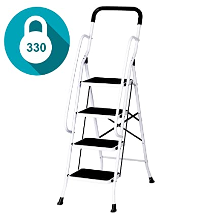 Fine Livebest 4 Steps Ladder Folding Step Stool With Hand Grip Non Slip Safety Rails Portable Heavy Duty 330 Lb Load Capacity For Home Household Kitchen Machost Co Dining Chair Design Ideas Machostcouk