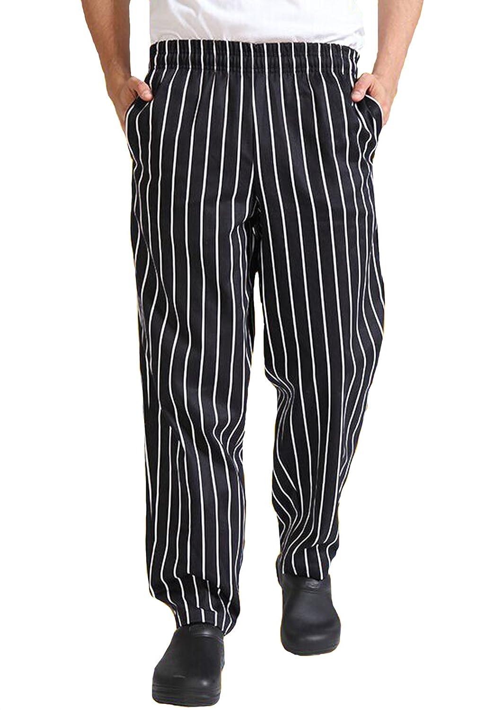 Seven Star Black White Stripes Cargo Style Chef Pant