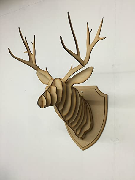 Large small wooden deer head wall art decor laser cut mdf stag head antlers