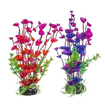 PANYTOW Plantas de plástico para acuario, acuario, acuáticas, acuáticas, hierbas, plantas artificiales, decoración para acuario de 19 cm, ...