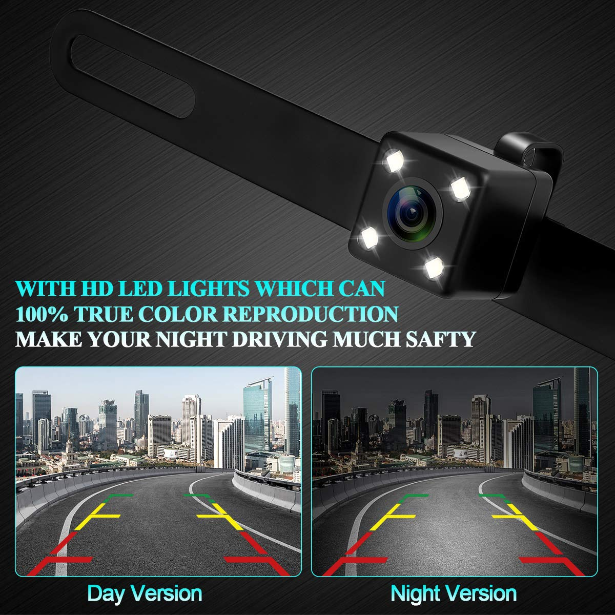 Car Rear View Camera ZSMJ License Plate Backup Camera with Intelligence Button Forward Facing//Reverse Camera Night Vision Waterproof 4 PIN Cable Easy Installation Dohonest 4350452605