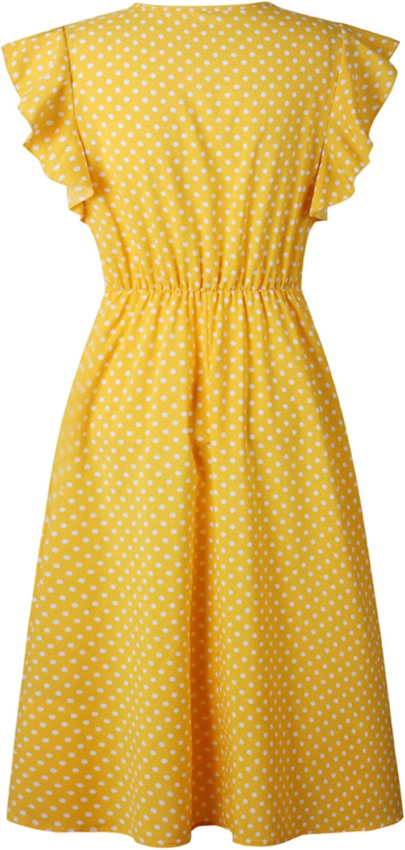 Eu 40 Gelb L Futurino Damen Sommerkleid Elegant Vintage Cocktailkleid Kurzarm Kleider Unregelmassige Strandkleid Mit Knopfen Kleider Damen