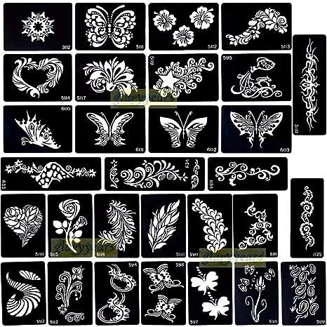Ivanas Set Of 2 Pieces India Henna Tattoo Stencil For Women Girls Hand Finger Body