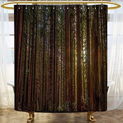 PRUNUSHOME California Shower Curtain Tree Nature Decor Redwood Forest In And Sunset Picture Print Polyester