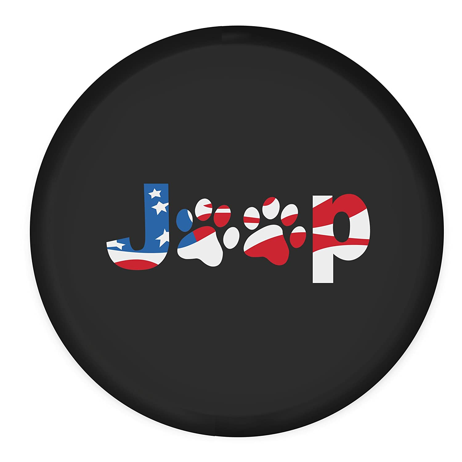 75cm//29.52inch Moonet for RV Liberty Wrangler Spare Wheel Tire Cover with America Flag Dog Paws Logo R15
