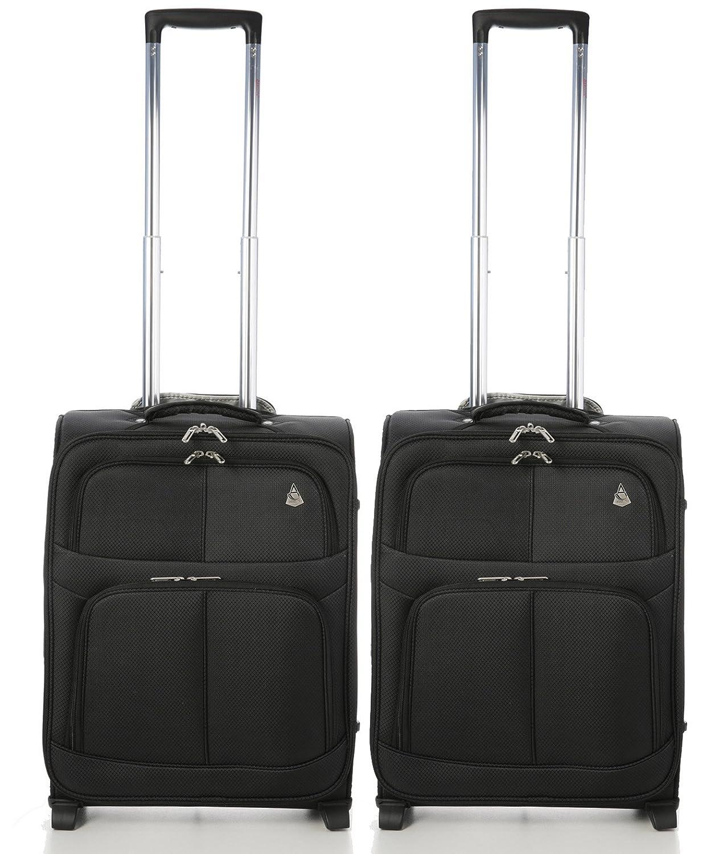 Aerolite 55x40x20 Ryanair MAX 2-Rad Leichtgewicht Bordgepäck Kabinentrolley Gepäck Handgepäck Trolley, 2 x Schwarz