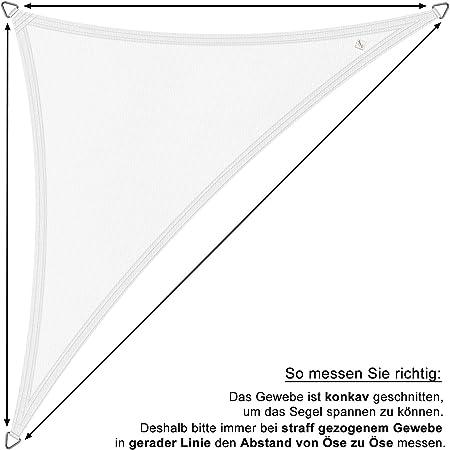 wasserabweisend Dreieck 3x3x3 m Sand hanSe/® Marken Sonnensegel 100/% Polyester