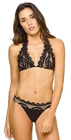 d0aa9881442 PilyQ Women s Midnight Crochet Lace Overlay Brazilian Bikini Bottom Midnight  S