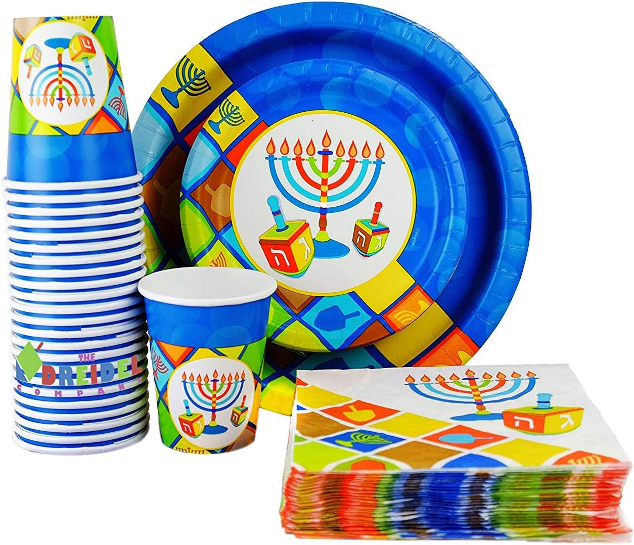 """Happy Hanukkah Illumination Design - Paper Goods Party Set - 7"""" and 10"""" Plates, Cups, and Napkins"""