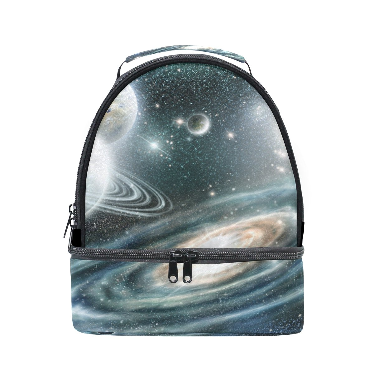 ALAZA Solar System Spiral Galaxy Planet Portable Shoulder Double Lunch Box Bag Insulated Lunch Tote Outdoor Bag