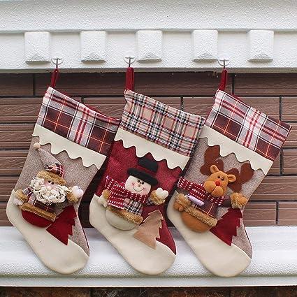 Finerolls 3PCS calcetines de Navidad Calcetín Calcetines de regalos para Navidad colgantes