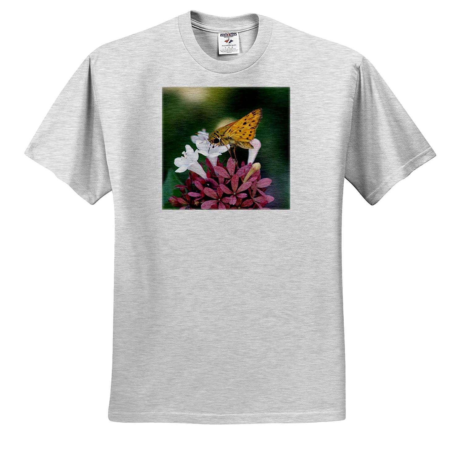 Insects T-Shirts Photograph of a Fiery Skipper Pollinating an abelia Flower in a Garden 3dRose Stamp City