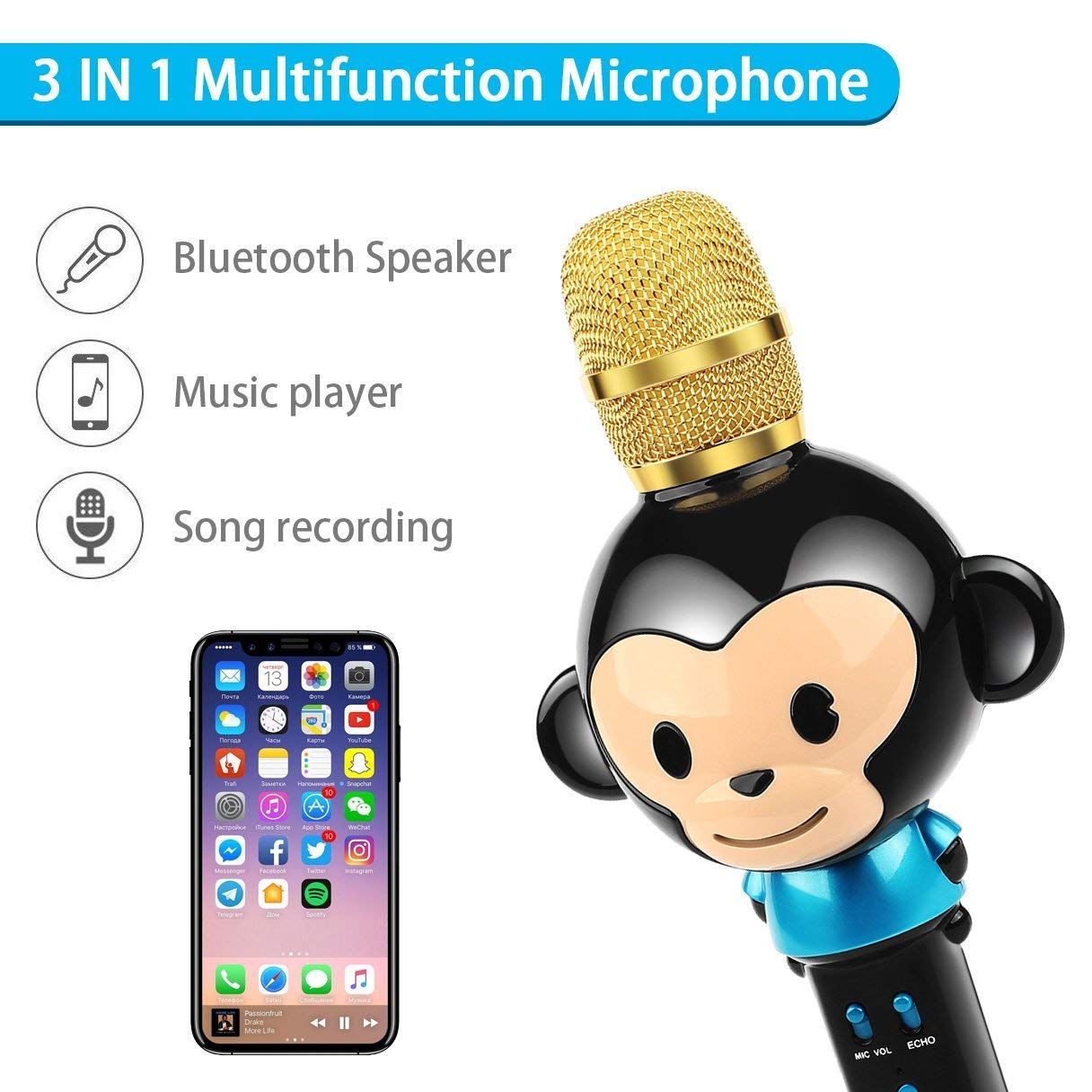 LingHui Kids Microphone Wireless Bluetooth Karaoke Microphone, 3-in-1 Portable Handheld Karaoke Mic Home Party Birthday Speaker Machine for iPhone/Android/iPad/Sony,PC and All Smartphone (Black) by LingHui (Image #3)