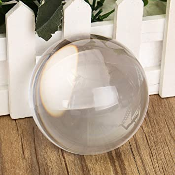 Vintage Half Sphere Ball Clear Crystal Paper Weight Magnifying Glass Lens Decor