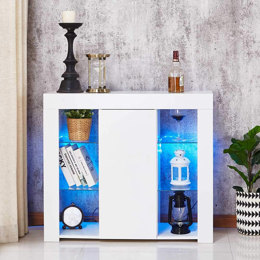 Wonderlife High Gloss Sideboard Storage Cabinet Tall Display Cabinet with LED Lighting for Living Room Dining Room White Large