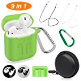 Cuauco 2019 Newest Airpods Case for Airpods 2 and 1 (Front LED Visible) with 2 Anti-Lost Strap/2 Pairs of Ear Hooks/2 Carabiner/1 Watch Band Holder/1 Headphone Case for Apple Airpods(9 Pack)(Green)