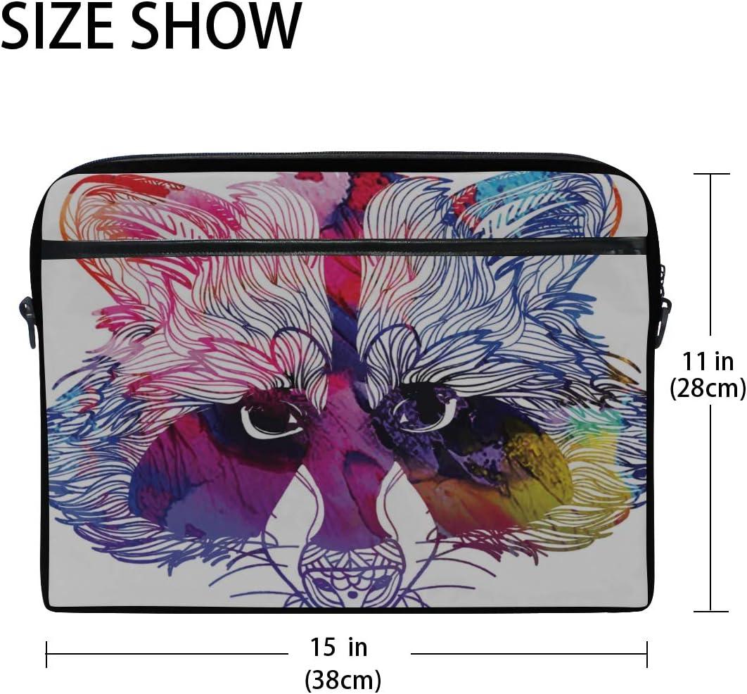 College Students Business Briefcase Messenger Shoulder Bag for Men Women Laptop Bag Raccoon Head Head Raccoon Dog Drawing 15-15.4 Inch Laptop Case