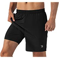 Gopune Men's 2-in-1 Running Shorts Quick Dry Lightweight Active Training Exercise Jogging Shorts