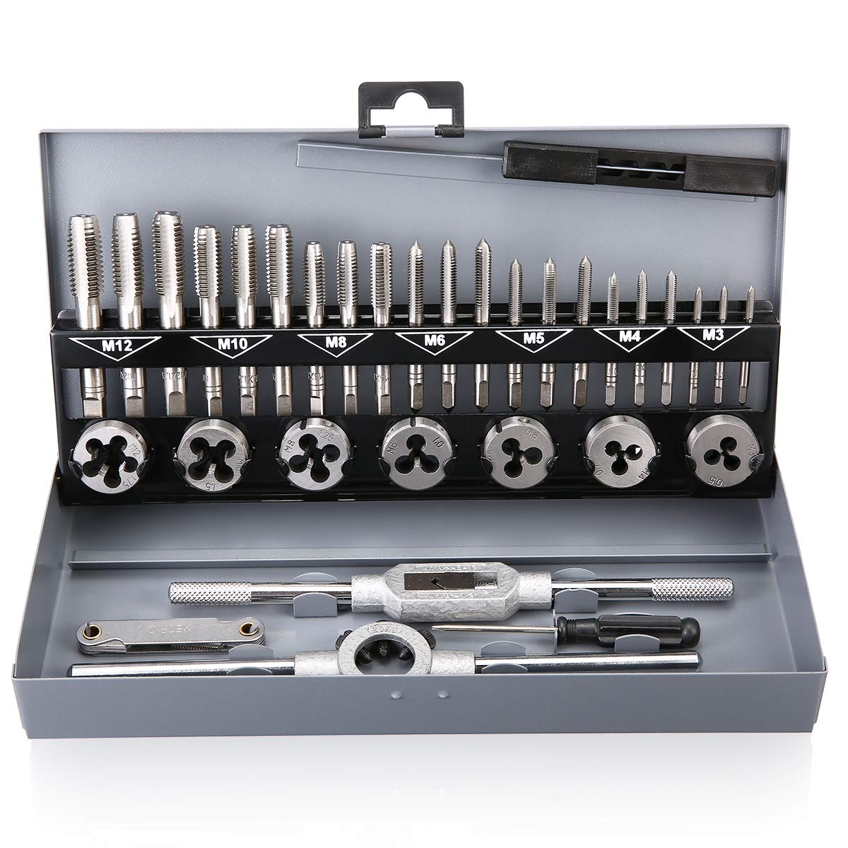 Tap and Die Set Metric Hardened Steel Combination Garage Tool Kit with Box -32pcs
