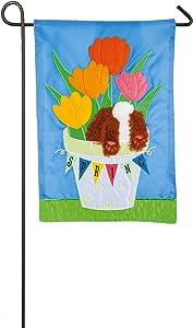 Evergreen Flag Spring Tulips Applique Garden Flag - 12.5 x 18 Inches Outdoor Decor for Homes and Gardens