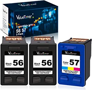 Valuetoner Remanufactured Ink Cartridge Replacement for HP 56 & 57 C9321BN C6656AN C6657AN for Deskjet 5650 5850 5150, Photosmart 7150 7260 7350 7960, PSC 2510 Printer (2 Black, 1 Tri-Color, 3 Pack)