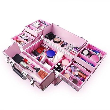 Ovonni Caja Profesional de Maquillaje portátil, Artista Caja de Almacenamiento de Organizador cosmético de Aluminio con 15 Compartimentos, 4 bandejas, ...