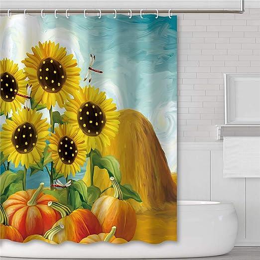 Set of 12 Shower Curtain Hooks Country Harvest Sunflower Pumpkins Birds Bathroom