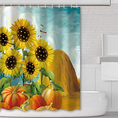 Tititex Sunflower Pumpkin Fall Flower Floral Shower Curtains For Bathroom 69 X 70 Inch Polyester Waterproof Fabric With Hooks Bathroom Decor Sets