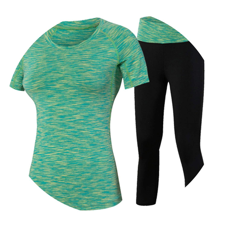 Green Medium kongye Yoga Suits Fitness Women Sport Gym Running Pants Compression Tights T Shirt Tracksuits Yoga Set