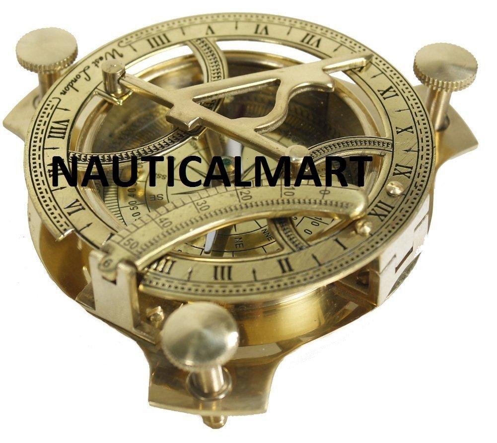 Nautisches Mart 10,2 cm Sonnenuhr Kompass – massivem Messing Sonnenuhr Marine Collectible Sonnenuhr