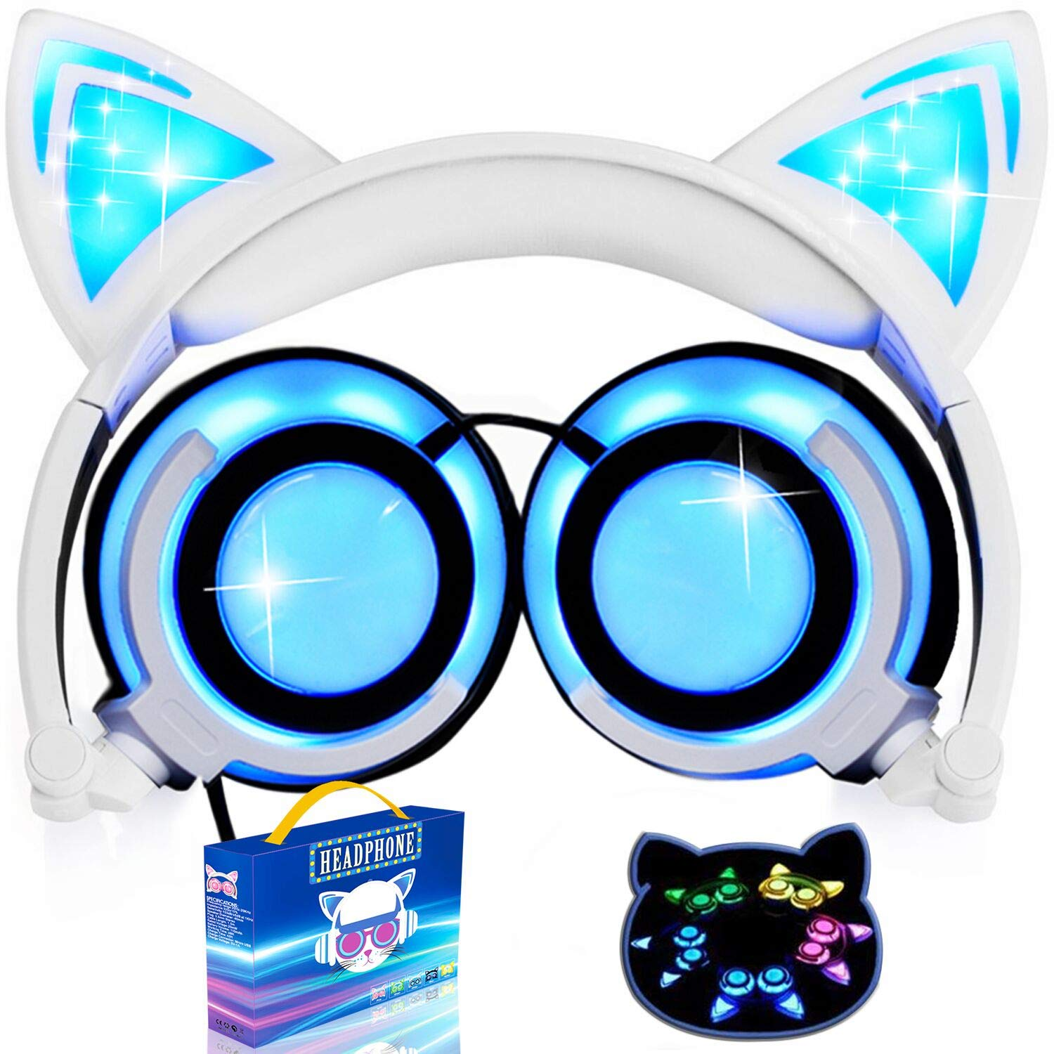 Kids Headphones Cat Ear-Inspired,AMENON Wired On-Ear Foldable LED Gaming Headsets USB Rechargeable Lights 85dB Volume Limited Earphone for iOS Android Laptop,Birthday and Festival Gift