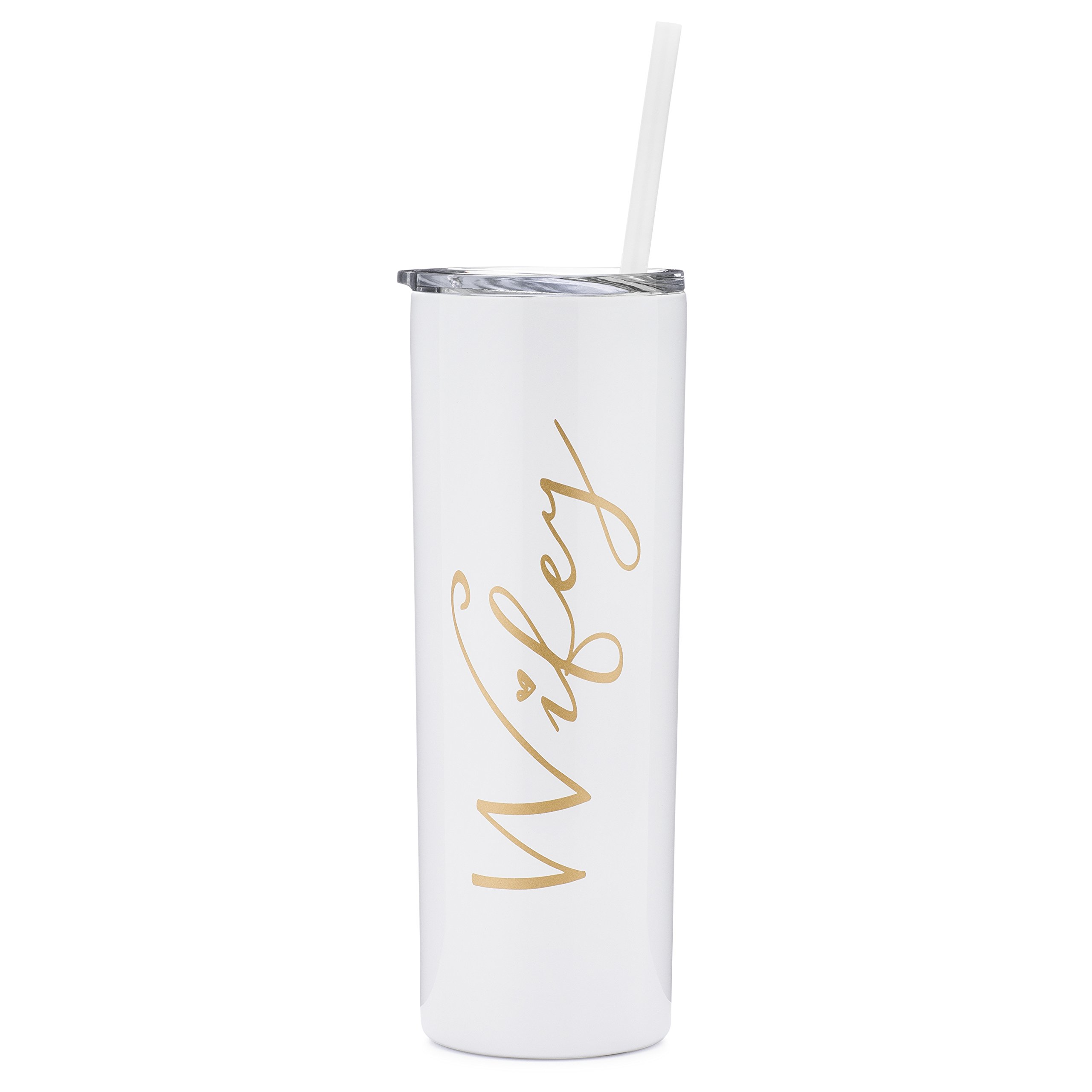 Wifey - 20 oz Stainless Steel Skinny Tumbler (White and Gold)