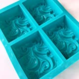 VAURUM Rectangle Designer 4 Cavity Soap Making Heavy Wt Silicone Mould APX 100gms