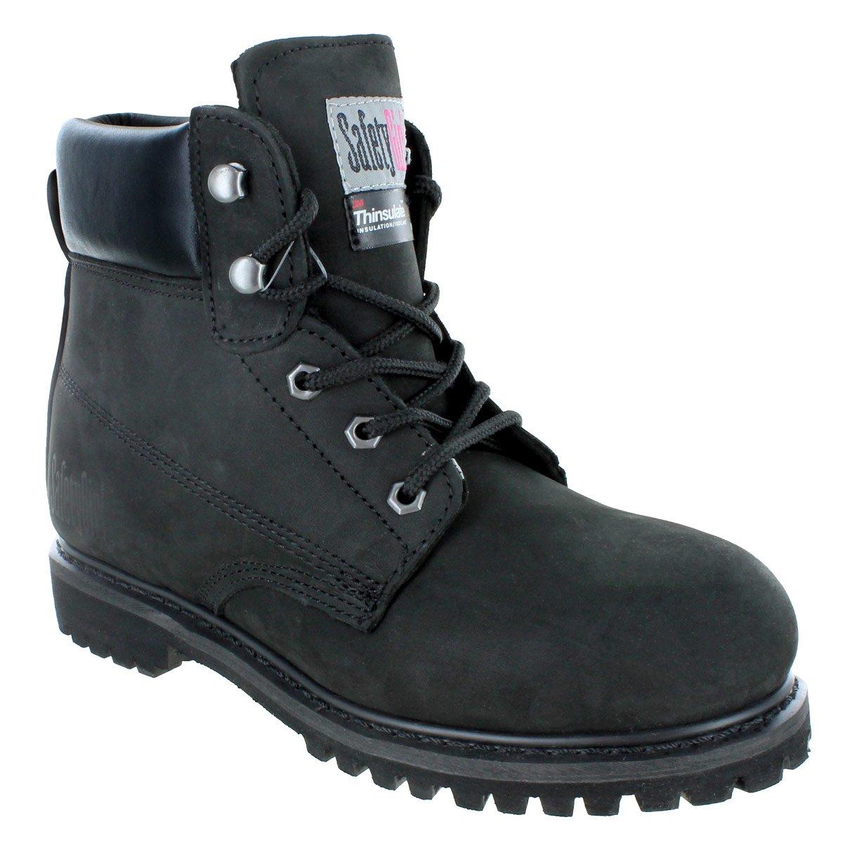 Safety Girl GS005-Black-7M Insulate Work Boot II- Black Steel Toe 7M, English, Capacity, Volume, Leather, 7M, Black ()