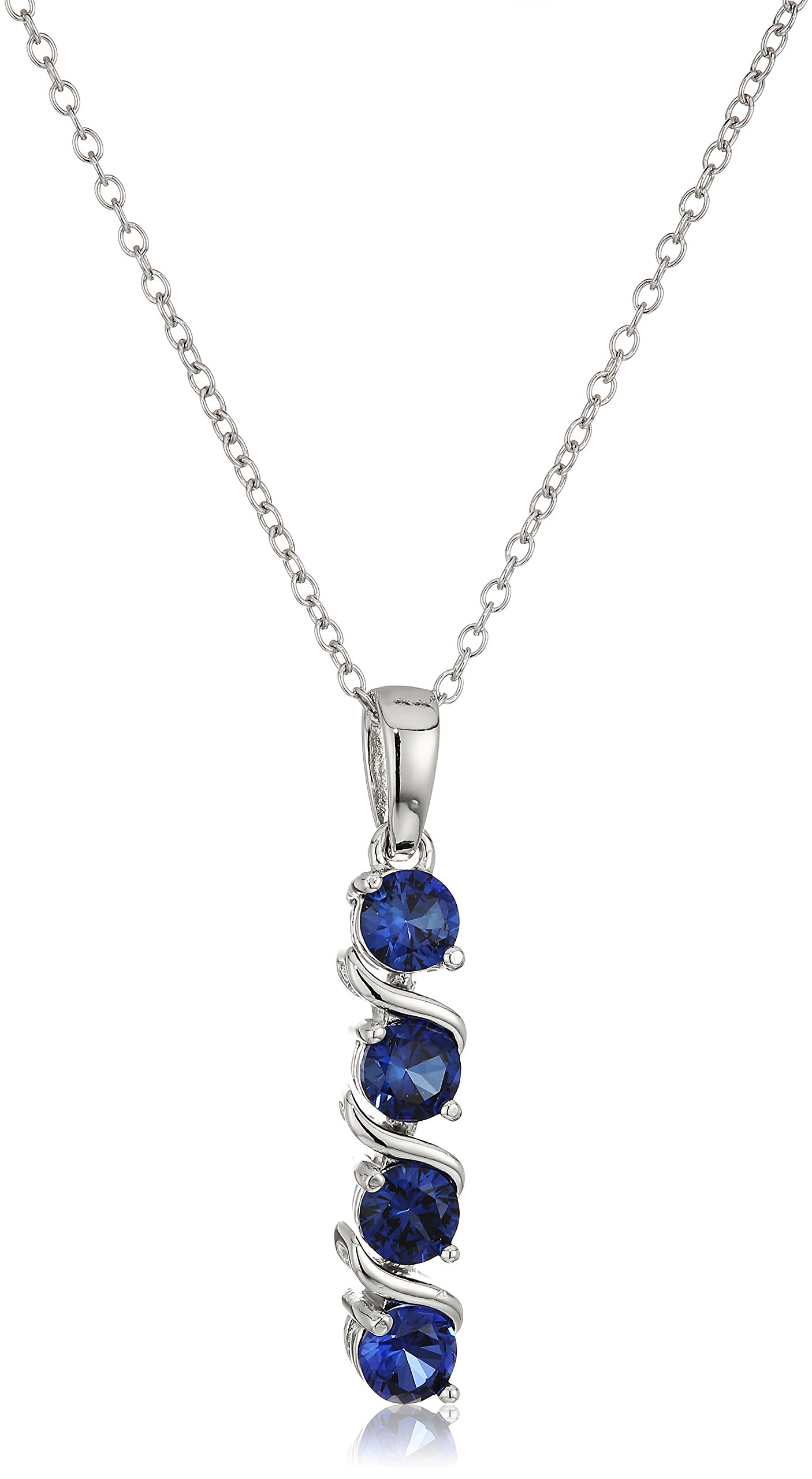 Sterling Silver Created Blue Sapphire Four Stone Pendant Necklace, 18'' by Amazon Collection