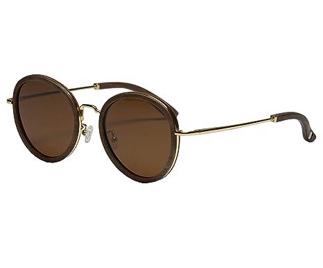Amazon.com: Gafas de sol doradas y nogal de madera con ...