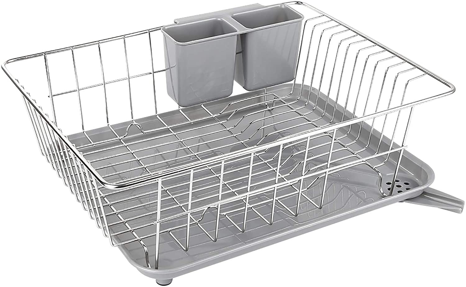 Amazon Com Whitgo Dish Drying Rack With Drain Board Stainless Steel Dish Drainer Drying Rack With Utensil Holder For Kitchen Counter Dish Drain Rack With One Cleaning Cloth Kitchen Dining