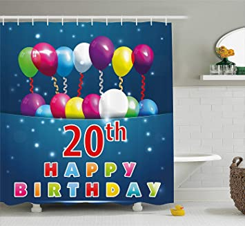 Ewtretr 20th Birthday Decorations Shower Curtain Sweet 20 Party With Colorful Balloons On Blue