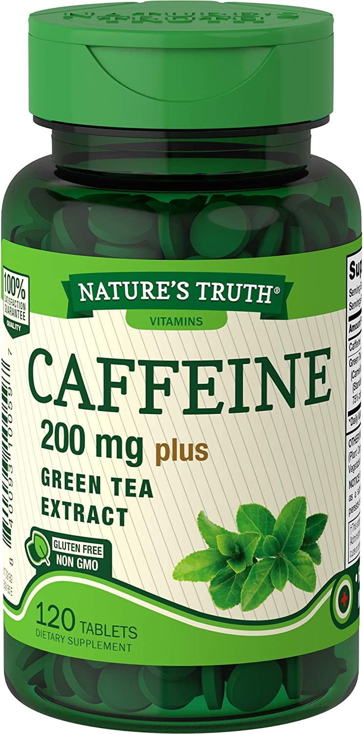 Nature's Truth Caffeine Tablets Plus Green Tea Extract, 120 Count