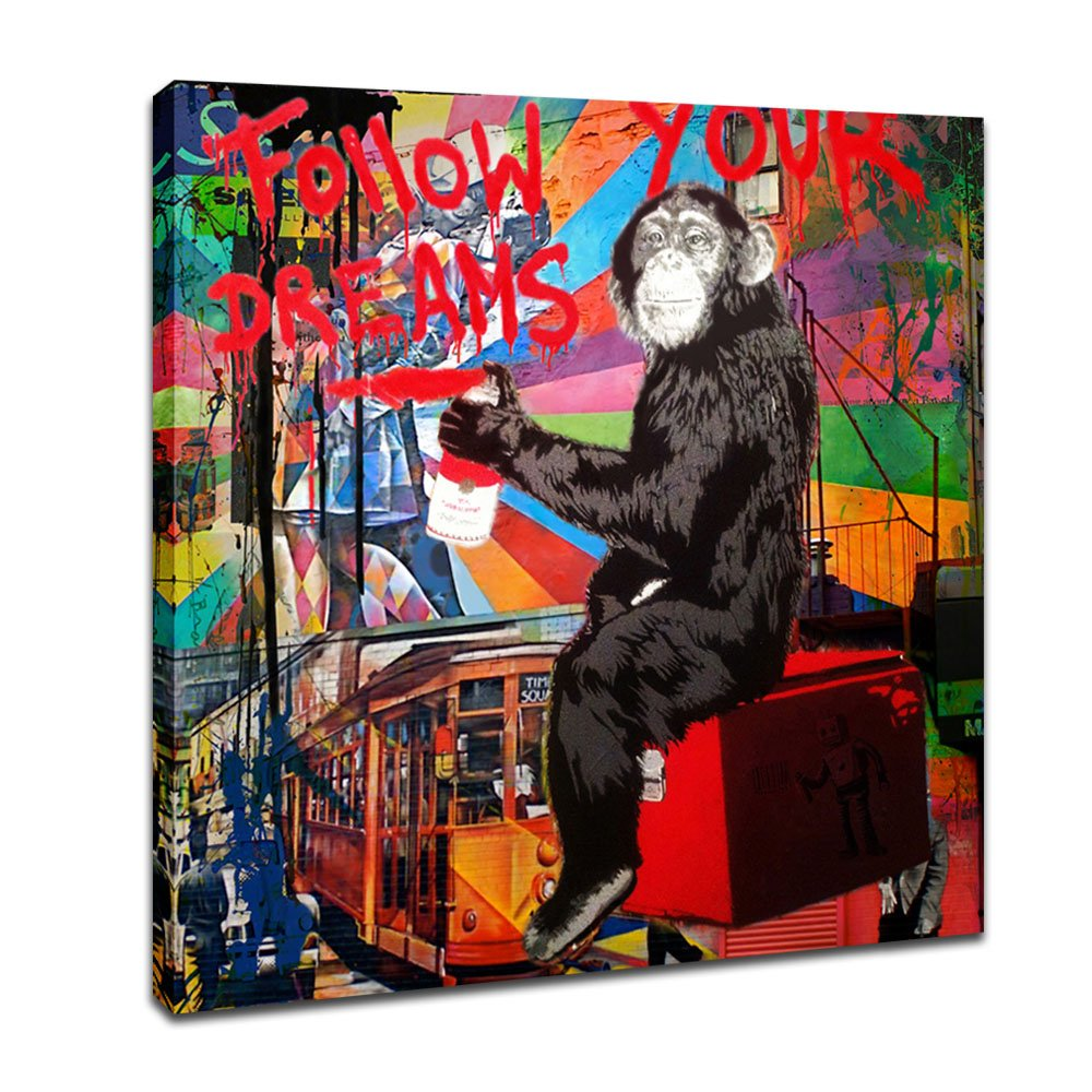 DVQ Art - Framed Canvas Painting Graffiti Monkey Follow Your Dreams Art Wall Picture Animal Street Artwork for Living Room Decor Ready to Hang 1 Pcs