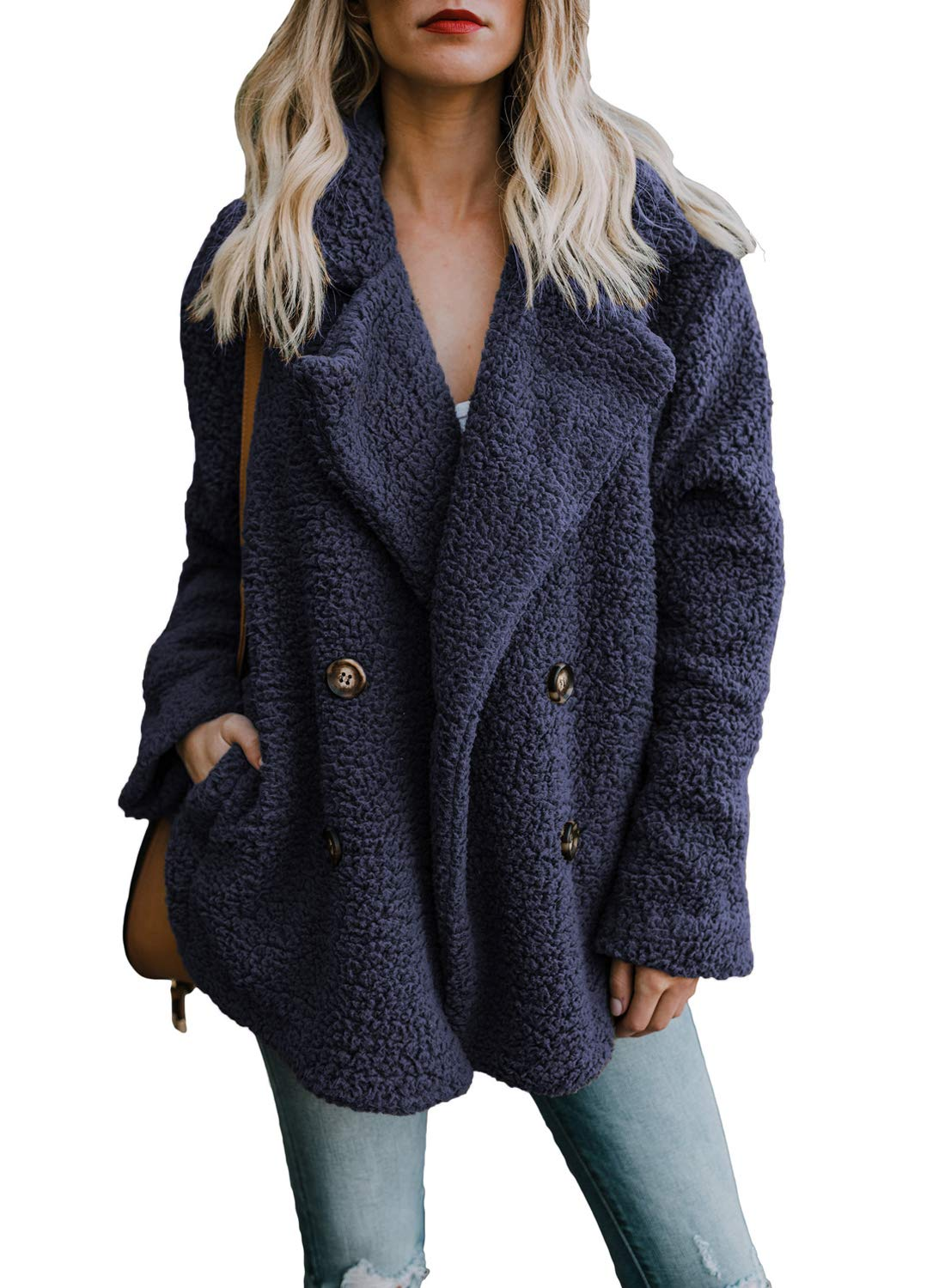 Dokotoo Womens Jackets Coats Elegant Solid Sherpa Fleece Open Front Loose Long Sleeve Casual Winter Ladies Coats Fashion Fluffy Cardigans Outerwear Jackets with Pockets Navy Medium by Dokotoo