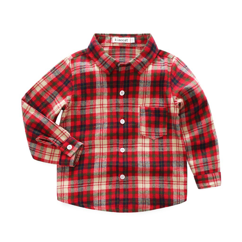 Kimocat Infant Baby Boys Long Sleeve Plaid Button-Down Shirts