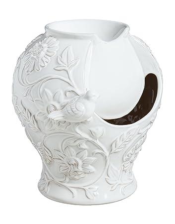 Evergreen Classic White Embossed Ceramic Tabletop Fountain