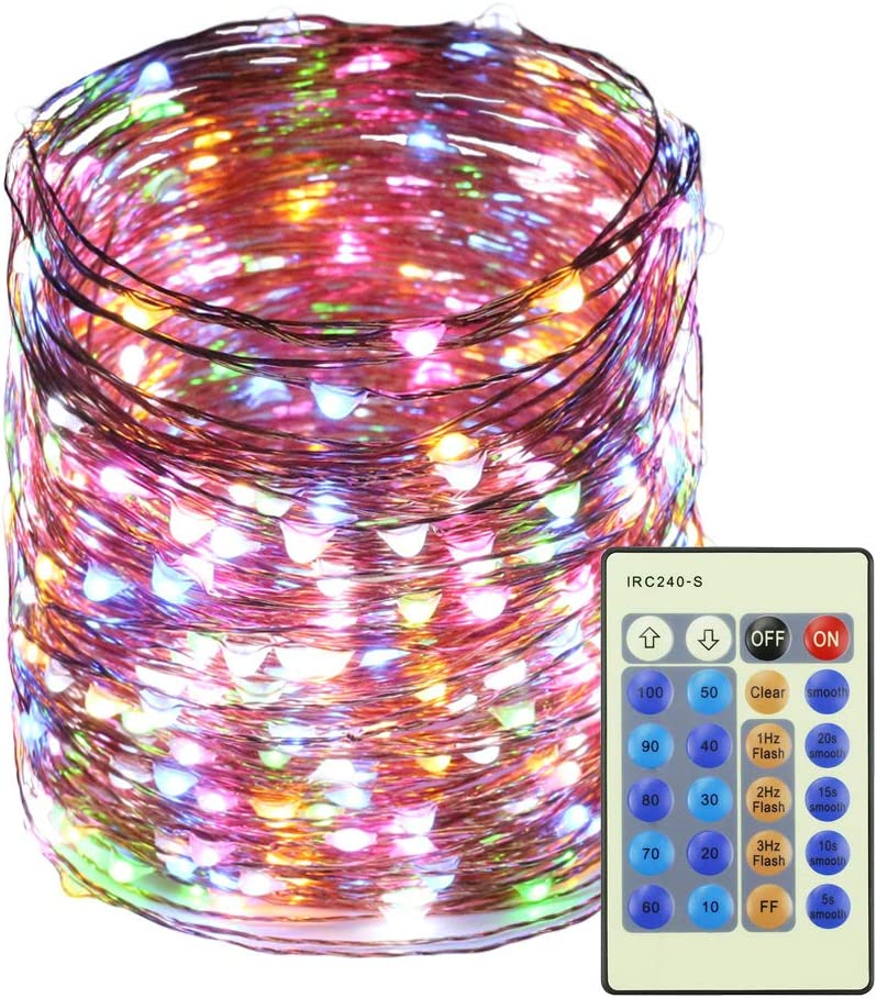RUICHEN Dimmable LED Fairy String Lights Plug in with Remote, 165Ft 500 LED Waterproof Copper Wire Fairy Lights Decorative Christmas Starry Lights for Bedroom,Wedding,Patio,Party(Multicolor)