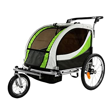 Clevr 2-In-1 Collapsible 2-Seater Baby Stroller Jogger/Bicycle Trailer
