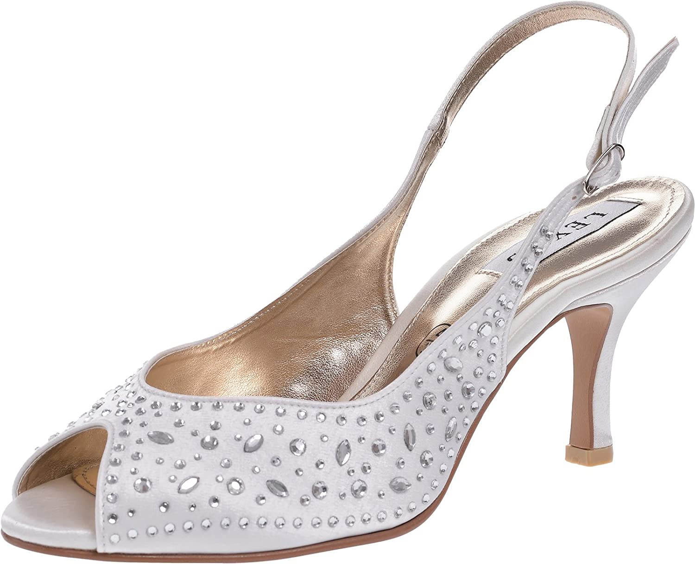Ladies Lexus Bridal Bridal Bridal Sling Back Sandal with Extravagent Diamante Design on Satin Textile in Ivory. 8be452