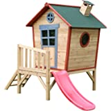 Big Game Hunters Redwood Tower Painted Wooden Playhouse - Children's Crooked Garden Play House with Slide