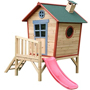 Big Game Hunters Redwood Tower Painted Wooden Playhouse Childrens Crooked Garden Play House With Slide
